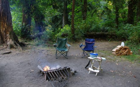 campsite w chairs and fire
